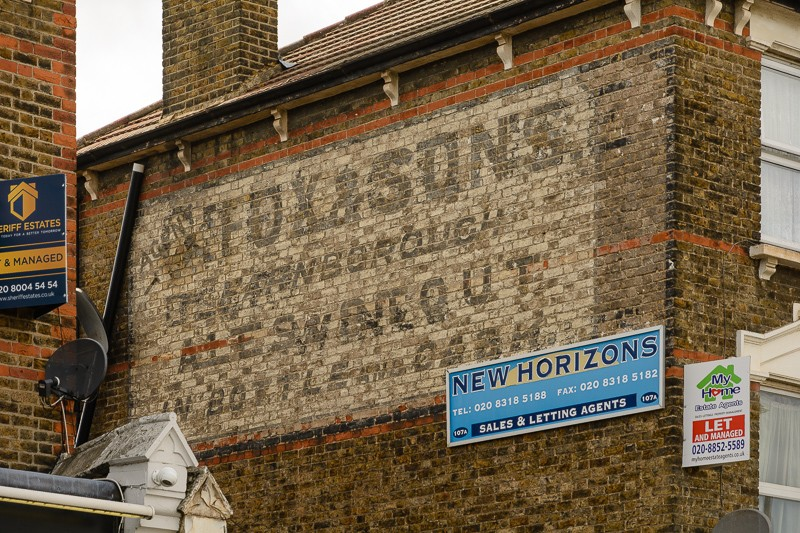 Ghost signs on buildings – Fox and Sons, Hither Green Lane.